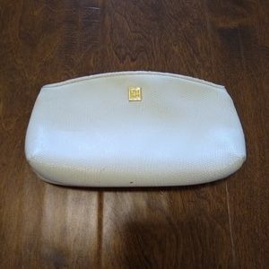 Vintage Givenchy genuine leather makeup bag white